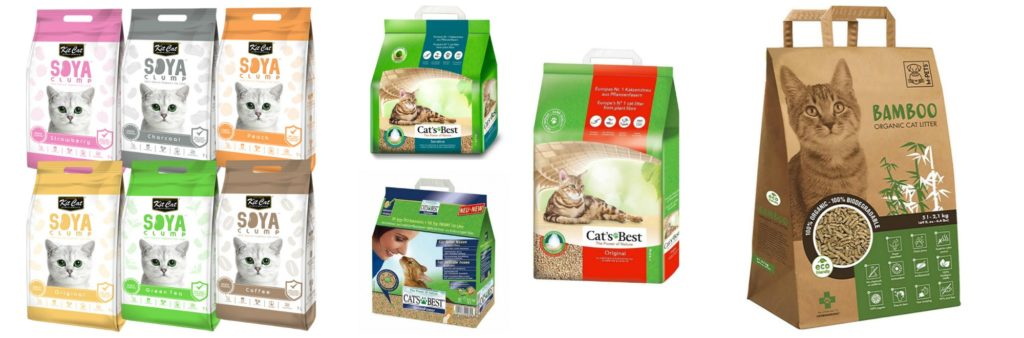 3 different brands of biodegradable, clumping cat litter for the article how to choose the right cat litter