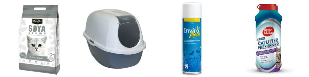 4 different products of to help bust litter box odours