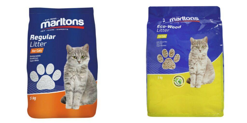 'n Foto van twee verskillende bio-afbreekbare katsand produkte vir die artikel hoe om die regte katsand te kies